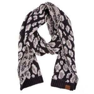 🆕 Black Leopard Print Jacquard Knit Scarf